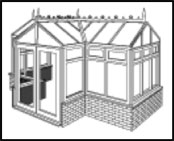 The T-shape conservatory allows for maximization of space and gives an attractive symmetrical appearance. Ideal for larger properties with a long wall on which to build the conservatory.