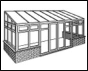 The Lean-to Conservatory style is suited to locations with limited height.